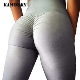 wholesale brown leggings Coupons - Kaminsky Sexy Push Up Women Leggings High Waist Workout Casual Pants Mujer Fashion Wrinkle Sportswear Fitness Leggings 8 Color