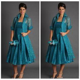 Organza mãe vestidos on-line-Elegante Uma Linha Plus Size Mãe Curta dos Vestidos de Noiva 2019 Comprimento de Chá Organza Vestidos de Noite Com Jaqueta