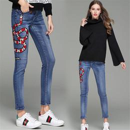 Petit jean en Ligne-Womens Designer Jeans Pants De Luxe Jeans Pants À La Mode G Élégant Serpent Rouge Petites Abeilles Broderie Nouvelle Arrivée Pantalon De Haute Qualité