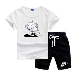 2019 ropa de hulk NK Uptempo zapatos Logotipo de lujo de los cabritos sets de diseño de ropa infantil niño 2pcs / set Sistemas del cortocircuito del algodón del verano del bebé bebés y las muchachas