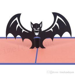 Tarjetas de felicitación hechas a mano de halloween online-Tarjeta de felicitación de Halloween hecha a mano creativa 3D Pop UP tarjeta postal postales de murciélagos para amigos Regalo de Halloween fiesta de disfraces favor