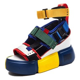 2019 plateforme sandales chunky à talons hauts ZDW Bleu Sandales Plate-forme Femmes 2019 Dames Casual Chaussures Wedge Haute Talon Chunky Sandales D'été Chaussures Haute Haut Ankle Shoes 40 plateforme sandales chunky à talons hauts pas cher