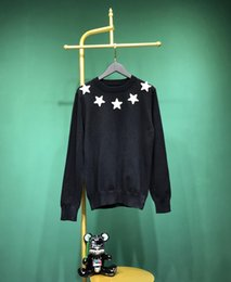 2019 moda de new jersey 2019 Nueva moda para hombre, suéter, bordado informal, pentagrama, ropa masculina, manga larga, suéteres de punto, cuello redondo de invierno moda de new jersey baratos