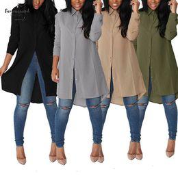 Blusa formal mujer verano online-Gasa tapas de las mujeres del verano del resorte camisas de la blusa larga de la solapa de ocio más el tamaño Sundress Botones atractivo irregular gasa de la camisa