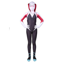 corpo inteiro catsuit branco Desconto Gwen Stacy Spiderman Terno Anti-Veneno Gwen Stacy Traje Terno Zentai Preto