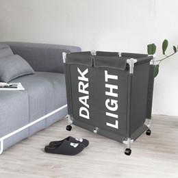 2019 strisce di mostra all'ingrosso Rolling Laundry Basket Doppio Bag Sezione Rolling Laundry Hamper Coperchio ruote rimovibili Portabiancheria