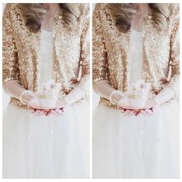 Lussuoso pizzo paillettes maniche lunghe oro rosa giacche da sposa shrug formale di alta qualità da sposa cappotti boleros accessori da sposa da sposa da lungo mantello in pizzo d'oro fornitori