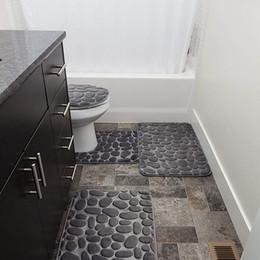 Alfombra de baño grande online-Piedras grises de la alfombra conjuntos de formularios de memoria extra suave alfombra de baño Mats Conjunto de 3 piezas de gran alfombra de ducha funda de ducha Alfombrilla de baño
