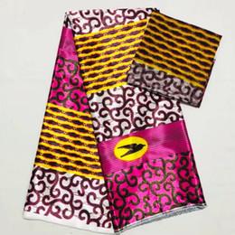 corea de tela de encaje Rebajas 4Y + 2 yardas Maravilloso estampado de seda de gasa de Corea tela de encaje suave material de satén africano para el vestido LS4-1