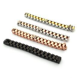 Mode Speedometer Pulsera Life Style Brazalete Titanio Gewehr-Schwarz-CrownStainless Stahl-Stulpe-Ketten-Verbindungs-Armband-Armbänder für Männer von Fabrikanten