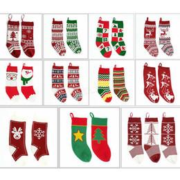 Детские вязаные новогодние сумки чулки висячие носки подарочные пакеты шерстяные носки Xmas Tree декор Жаккардовые конфеты подарочные носки LJJA2849 supplier jacquard socks от Поставщики жаккардовые носки