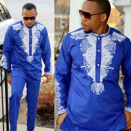 roupas muçulmanas por atacado Desconto Dashiki mens top pant set 2 peças set roupa homens africanos roupas 2018 riche roupas africanas para homens camisa dashiki com calças