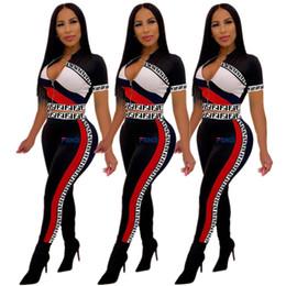 Ropa trajes online-F Impreso chándales de dos piezas de ropa de mujer conjunto de ropa deportiva de manga corta camiseta corta CropTop + pantalones Leggings traje trajes de verano A41503