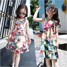 Kızlar elbise Yaz Bohemian Çiçek Yay Şifon Plaj Prenses Elbise bebek kız elbise çocuk giysi tasarımcısı kızlar Çocuk butik cheap bohemian baby girl clothes nereden bebek bebek kostümleri tedarikçiler