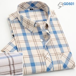 Мужские рубашки онлайн-Plaid Shirts Men Long Casual Free Iron Spring Summer Cotton Business Formal Dress Male Shirts Man Plus Size 5XL  2019 MuLS