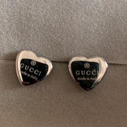diamante coração brincos Desconto Alta polido homens mulheres amantes Designer de Luxo 3D coração de prata Brincos Letras G Orelha Brinco Jóias Natal para presente de casamento