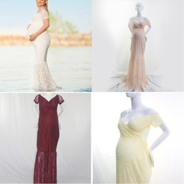 summer maternity clothes sale Coupons - Pregnant Dresses Women Prom Dresses Maternity Clothes Shoulder Solid Floor Length Short Sleeve Lace Anti Radiation 23