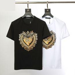 Mulheres t shirts seda on-line-Verão suave material de algodão de seda de alta qualidade macio T-shirt dos homens e no peito das mulheres DG impresso de manga curta casual T-shirt top