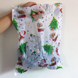 Sacchetti di regalo in plastica bianca online-Grande sacchetto di plastica 30x40cm bianco Natale regalo borsa boutique abbigliamento imballaggio sacchetti di plastica con manico 100 pz / lotto