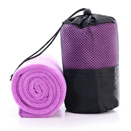 Мешок для купания онлайн-Fast Quick Drying Gym Towel Sports Swimming Towel Microfiber Cloth for Travel Camping with Mesh Bag 6 Colors
