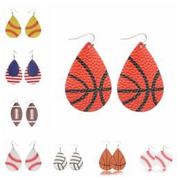 Ohrringe vereinigte staaten online-Sport PU Leder Ohrringe Vintage Baseball Amerika deutsche Nationalflagge Fußball Ohrring USA Flagge Flamingo Fußball Basketball
