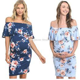 ropa bohemia fuera del hombro Rebajas Mujeres con estampado floral vestido sin hombro 2019 bohemio del verano volante fuera del hombro vestido de playa de moda vestidos de maternidad ropa C6382