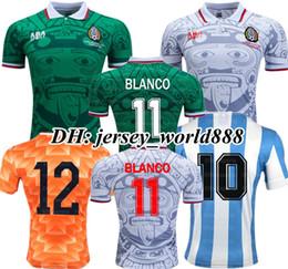 lega maradona argentina Sconti Retro 1998 Messico Classic Vintage Soccer maglie 1978 Argentina Football Shirts 1988 Paesi Bassi Retro MARADONA