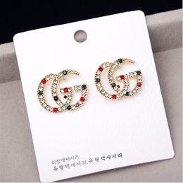 2019 рубиновые серьги 2020 Роскошные дизайнерские серьги с красным белым зеленым камнем женские ювелирные изделия Шпилька письмо серьги с Кристаллом для вечеринки