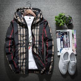 Xadrez hoodie on-line-Jaqueta esporte blusão dos homens de manga longa mens jaquetas de luxo com zíper bolso homens casuais jaqueta com capuz jaqueta xadrez plus size m-5xl