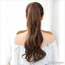 parrucche marroni chiari per le ragazze Sconti Womens fashion Parrucche per capelli lunghi ricci Ragazze Big Wavy Ponytail Parrucche Pony Hair Hairpiece Black / Dark / Light Brown