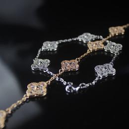 2019 pulseiras indian designer Flor Designer de Jóias de Luxo Diamante Pulseiras Das Mulheres de Prata 925 Sorte Pulseira Encantos Jóias de Noivado Casamento