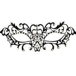 Masque vénitien noir découpé au laser en Ligne-Noir en métal vénitien Filigrane Cut Laser Masquerade Masque W / cristaux Halloween Party Masque Dancing Party Femmes Sexy Demi-Masque