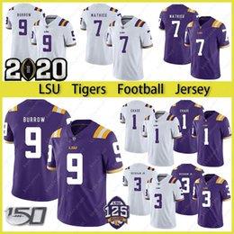 Parches de fútbol americano universitario online-LSU Tigers Burreaux jersey del fútbol de playoffs Diamond 2020 Patch Colegio 9 Joe Madriguera Apodo Beckham 7 Delpit Mathieu