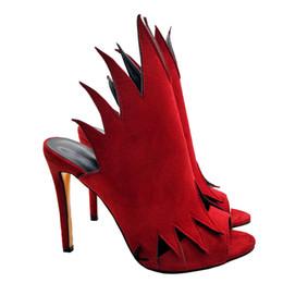 Sandalias zapatillas stiletto online-Señoras del verano Llamas Slingbacks Sandalias Mujeres Sexy Stiletto Zapato de tacón alto Sandalia Forma de fuego Sandalias de gladiador Partido Stilettos