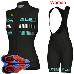 sleeveless women cycling jersey Promo Codes - 2019 ALE Team cycling Jersey set Women Summer quick dry Sleeveless bike shirt 9D bib shorts suit Maillot Ciclismo K082804