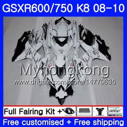 Corona verkleidungen k8 online-Karosserie Für SUZUKI Weiß CORONA GSX-R600 GSXR 750 600 600CC GSXR600 08 09 10 297HM.15 GSX R600 R750 GSX-R750 K8 GSXR750 2008 2010 Verkleidung