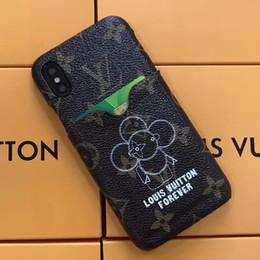 Estuche de teléfono de lujo para iphone X XS XR Xs Max 6 / 6s 7/8 7/8 más Estuche rígido de cuero Girasol Robot Patrón Impresión de inserción Caja Titular de la tarjeta desde fabricantes