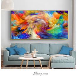 Arco-íris da lona da pintura a óleo on-line-SELFLESSLY Rainbow Color Respingo Pintura A Óleo sobre Tela Wall Pictures para Sala de estar Cartazes e Estampas de Arte Moderna Decoração Unframe