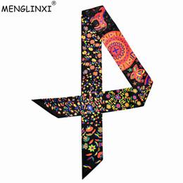 2018 New Design Bag Ribbons Small Floral Print Women Silk Scarf Fashion Brand Head Scarf Long Scarves For Handbag Wholesale от
