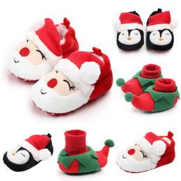 2019 weihnachten baby walker schuhe Baby Weihnachten Schuhe Neugeborenen Warme Schneeschuhe Infant Weiche Sohle Pantoffel Krippe Erste Wanderer Kleinkind Nette Weihnachtsmann Pinguin Schuhe RRA1872 rabatt weihnachten baby walker schuhe