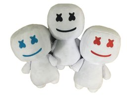 candy toy doll Promo Codes - 25CM New electronic syllable cotton candy DJ headset marshmello plush toy doll Halloween gift 3 colors kids toys