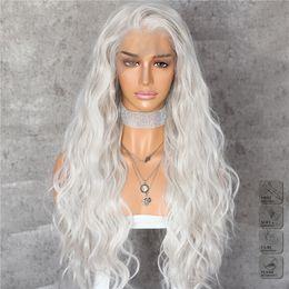 perucas de comprimento médio ruivo Desconto Hot Sexy Prateado Branco Longo Onda de Água Parte Livre Resistente Ao Calor Do Cabelo Laço de Maquiagem Diária Perucas Dianteiras Do Laço Sintético para Mulheres Partido Cosplay
