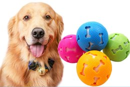 funny bones cartoon Coupons - New Pet Funny Toy Pierced Bone Light-emitting Ball 7.5cm Dog Training Anti-bite Natural Rubber Toy