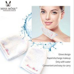 Luvas rosa on-line-Marca Miss rosa removedor de maquiagem luva fibras à mão maneira de remover diário de maquiagem toalha de limpeza viajar amigável e macio