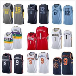 Maglie basket NCAA Mens Ja 12 Morant Zion 1 Williamson RJ 9 Barrett College da giallo uniforme di pallacanestro verde fornitori