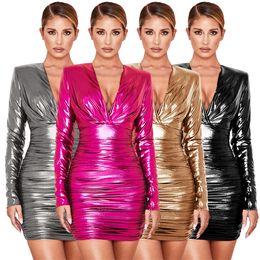Mulher do saco do quadril on-line-2020 Nova profundo decote em V plissadas Zipper estiramento de couro de Vestidos Mulheres vestido de paetês vestido vestido de mangas compridas Bag Hip Vestidos Sexy