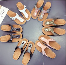 slipper clips Coupons - Sequins Beach Cork Slippers 18 Styles Casual Sandals Flip Flops PU Leather Non-slip Clip Feet Slippers