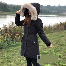 Вниз капот парка онлайн-Женщины пуховое пальто зима Канада ROSSCLAIR-4 гусиный пух парки с капюшоном / Snowdome куртка настоящий волк меховой воротник белая утка верхняя одежда пальто