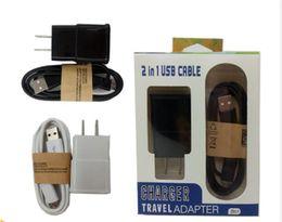 chargeur mobile 2a Promotion 5V 2A Kits 2 en 1 Micro USB Câble US UE Chargeur adaptateur Voyage avec Retail Package pour téléphone mobile