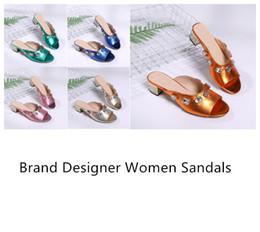 talons de mélisse Promotion Avec Boîte 2019 Femmes De Luxe Designer De Mode Sandales D'été Pantoufles En Cuir Taille 35-40 Cinq Couleurs 4 CM Talons Chaussures